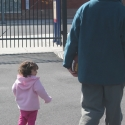 Julia and Daddy walk in the Parking Lot