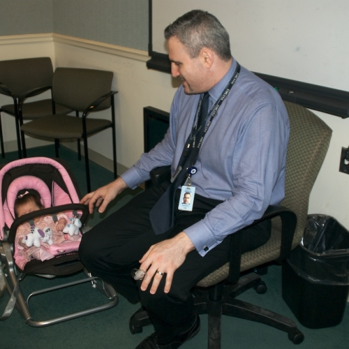Daddy and Sara in the conference room