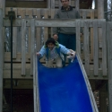 Nikki coming down the slide