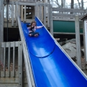 Isa makes her way down the slide