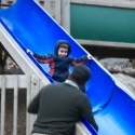 Michael coming down the slide