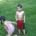 The kids in the sprinkler