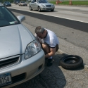 On the side of I-95, such a joy to change a tire