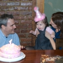 Mommy, Daddy and Sara with her special cake