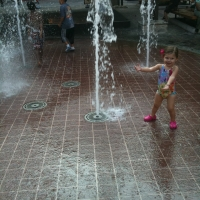A beautiful fountain and lots of fun