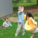 Playing in the backyard