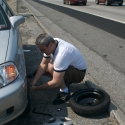Even with the traffic, Daddy got the tire changed in a jiffy