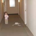 Peanut finds some tissue and scampers into the hallway!